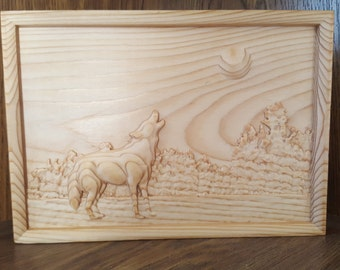 Cedar wood Wooden 3D Engraving Relief Howling Wild Wolf Under The Full Moon Art Picture Farming Framed wall art
