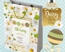 Baby Shower Favor Bag - Baby Shower Girl - Baby Shower Boy - Daisy Favor Bag - Floral Party Bag - Instant Download - Baby Shower
