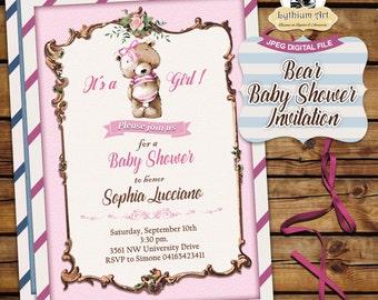 Bear Baby Shower Invitation - Baby Shower Invitation - Bear Shower Invite - Teddy Bear Baby Shower Invitation - Printable Invitation