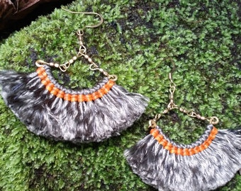 Orange Silvery Thread Fringe Earrings