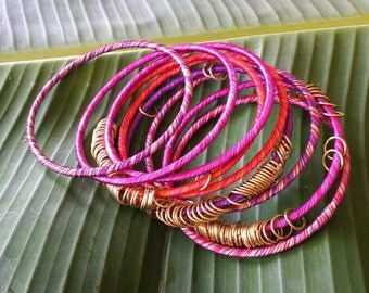 Colorful Thread and Gold Ring Bangles