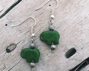 Little Green Elephant Earrings