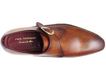 Handmade men's single monkstraps brown leather