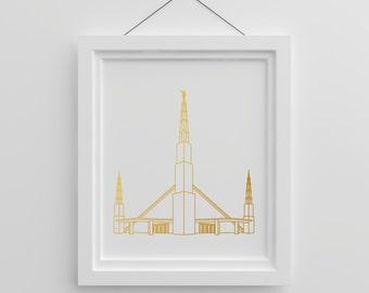 LDS Dallas Temple Gold Foil Print