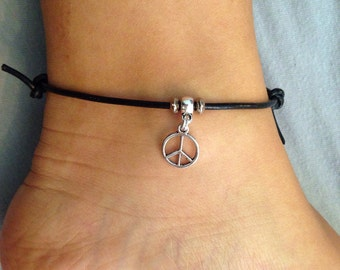 Peace Sign Anklet / Boho Anklet, Hippie Anklet, Beach Anklet, Black Cord Anklet, Hipster Anklet, Charm Anklet, Adjustable Anklet, Bohemian