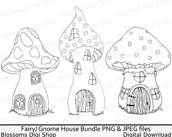 Toadstool house bundle png , digital download, fairy clipart, gnome png, hand drawn line art, elf png, colouring page, commercial clipart