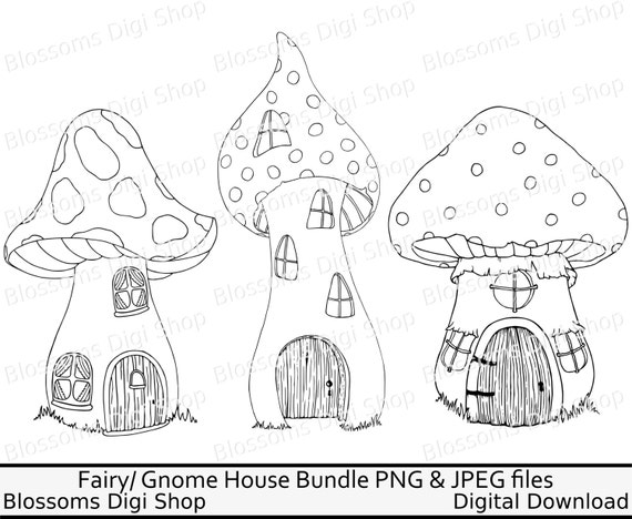 Toadstool house bundle png digital download fairy clipart for Fairy house coloring pages