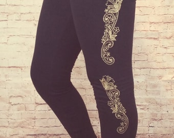 Floral Frenzy, Embroidered Leggings. International Appeal