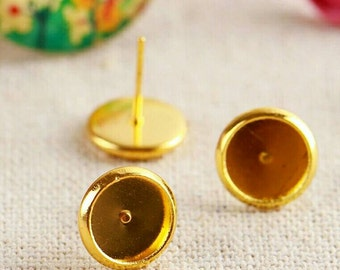 20pcs 10mm Bezel High Quality Gold Plated Cabochon Earring Studs DIY Earrings Round Cabochons Jewelry Supply Golden Free Matching Ear nuts