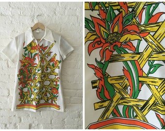 Vintage 70s Psychedelic Zip-up Shirt | Colorful Floral Polyester Top Blouse - Sz. Large