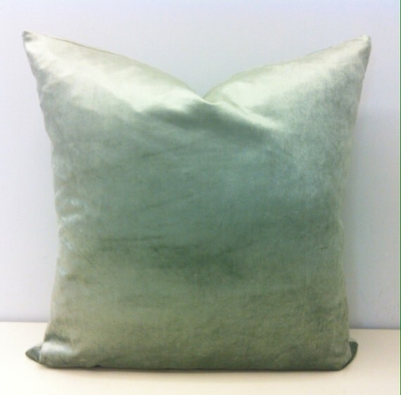 Light Green Velvet Pillow Cover Mineral Green by artdecopillow