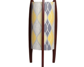 Mid-century inspired Rocket lamp with vintage fabric