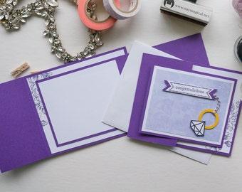 Purple Diamond Ring Trifold Card, Stampin Up Handmade Greeting Card