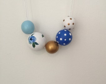 Wooden bead necklace // LIMITED EDITION // Botanical Collection //Geometric and round wooden bead necklace // hand painted blue white floral