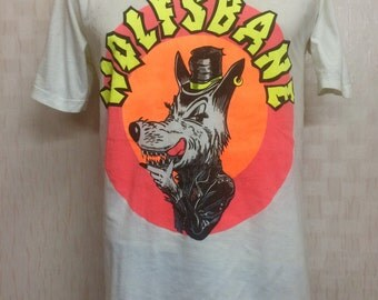 Vintage 80s - 1989 WOLFBANES Tshirt with original autograph sign Steve Danger and Blaze Baley
