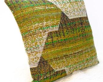 "Retro Cushion Cover, Original 60s 70s Fabric, 16x16"", Vintage, Green, Campervan, VW"