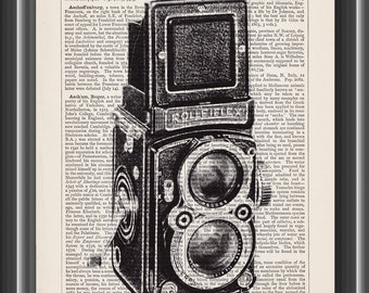 Rolleiflex vintage camera film photography gift upcycled dictionary art print vintage print wall art home decor