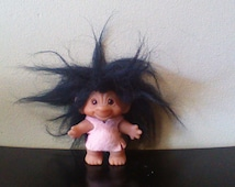 "Vintage 1960s Dam Made In Denmark Troll Doll Black Hair Orange Amber Eyes Light Pink Felt Clothes Trolls 3"""
