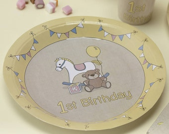 1st Birthday Paper Plates - Rock-A-Bye Party Supplies Tableware
