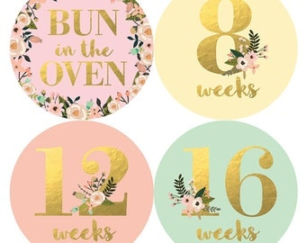 Belly to Baby Stickers, Pregnancy Stickers, Maternity Stickers, Pregnancy Belly Stickers, Gold Floral, Belly Bump Stickers, Petite Folio