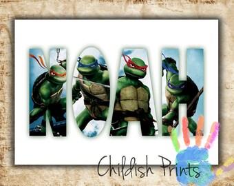 personalised TMNT character name art gift idea printable - Teenage Mutant Ninja Turtles Donatello Leonardo Michelangelo Raphael