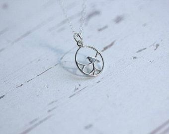 Silver bird necklace - Bird necklace in Sterling silver - Bird in a circle necklace - Delicate necklace - Minimalist Jewelry