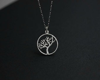 TREE OF LIFE Necklace in Sterling silver - Silver Tree of Life necklace - Round Silver Tree of Life necklace - Delicate necklace