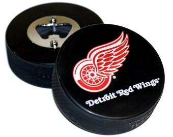 Detroit Red Wings NHL Hockey Puck Bottle Opener