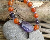 Violet Flame bracelet, Amethyst, Boho Hippie jewellery, Carnelian, Gemstone jewellery, Goddess jewellery,