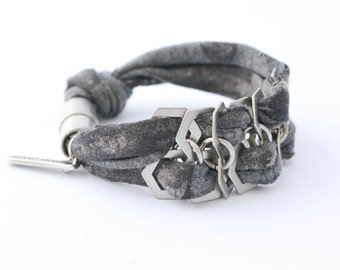 SALE!!! comfy textile bracelet ,easy magnet closure BY urban candy