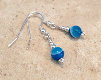 Blue drop earrings, Brazilian agate earrings, sterling silver earrings, dangle earrings, sundance style earrings, silver drop earrings