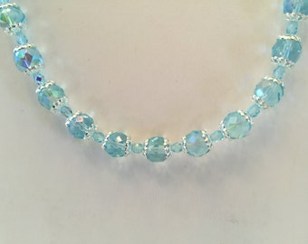 Light Blue Aurora Borealis Crystal Beaded Silver Tone Necklace