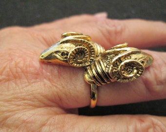 Very unusual> double RAM's HEAD Ring>> gold OR silver tone>>vintage 1960's, new old stock>>adjustable