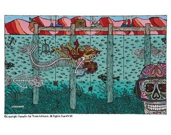 Art Print Day of the Dead The Lake–El Lago 12 x 16 Sugar Skull Mermaid
