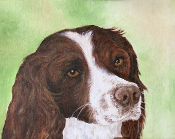 Acrylic painting of a springer spaniel.