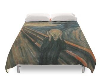 The Scream Duvet Cover, Edvard Munch, El Grito, Expressionism, Famous Art Paint, Twin, Full, Queen Duvet, King Duvet, Bohemian Print Bedding