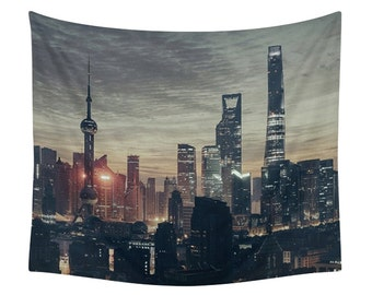 City Tapestry, Urban Landscape Print, Young Wall Tapestries, Photography Art, Night Photo, Lights Industrial Style, Architecture Skyline