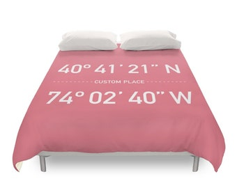 Custom Coordinates Duvet Cover, Home Location, Industrial Modern Bedding, Urban Typography Art, Scandinavian Wedding, Twin Full Queen King