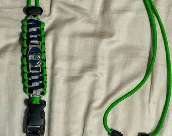 Seattle Seahawks Paracord Lanyard. Seahawks lanyard with 18mm by 25mm vertical facing charm.