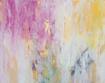 Gorgeous abstract painting pink gold white home decor Large Canvas Art 24x30