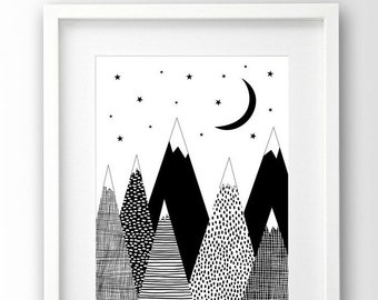 Mountain Print, Kids Room Decor, Black and White Art, Scandinavian Print, Downloadable Art