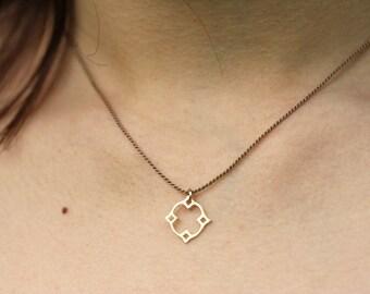 Marokkanischer Diamant Anhänger mit Seidenkette, vergoldetes Silber, goldfilled
