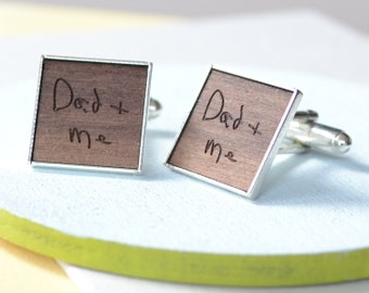 Personalised Engraved Handwriting Cufflinks - Gift for Dad - Father's Day Gift - Wooden Cufflinks - Office Wear - Handwritten Message
