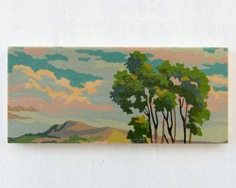 Paint by Number Wall Art, Paint by Number Art Decor, Vintage Look Art, Vintage Landscape Art Reproduction, Landscape Art Block