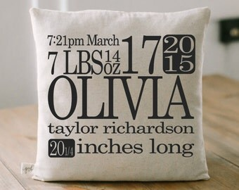 Personalized Throw Pillow - Birth Stats, home decor, present, new baby gift, nursery pillow, newborn, photo prop, throw, cushion cover