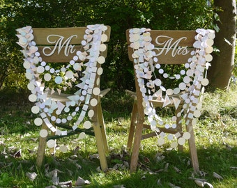 Wedding Chair decoration - Delysia paper garland chair necklace, multi-strand garland