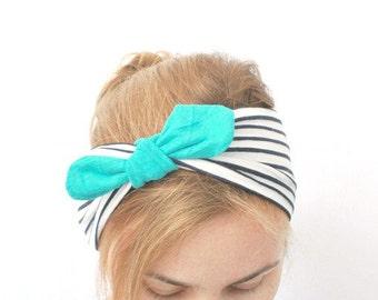 headband turban , Serre Tête , jersey coton blanc noir à rayures bohemien champêtre marin