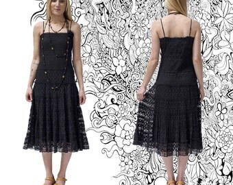20s look, Boho dress, romantic dress, black dress, lace dress, summer dress, party dress, 20s look, boho dress, Size Medium