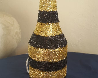 Gold and Black Bottle Lamp