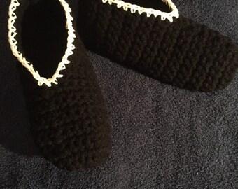 Women's Handmade Crochet (Black & White) Slippers Size 7-8